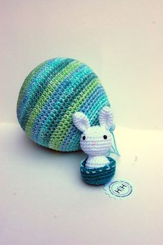 Amigurumi Hot Air Balloon with Adorable White Bunny Rabbit Pilot in teal, turquoise, celery, and other shades of green on Etsy, $45.00