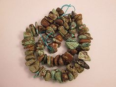 Turquoise Beads Green Blue Brown Dyed Chip Nuggets by FLcowgirls