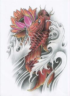 I quite simply am into the colorings, lines, and depth. This is definitely a superb idea if you want inspiration for a Pez Koi Tattoo, Koi Tattoo Sleeve, Carp Tattoo, Tattoo Ink, Hand Tattoos, Dragon Koi Tattoo Design, Koi Dragon Tattoo, Japan Tattoo Design, Japanese Temple Tattoo