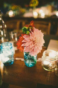 candle lit backyard wedding reception