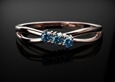 Sapphire Engagement Ring Rose Gold Engagement by GoldandSilverCo