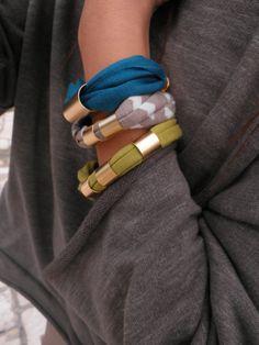 T shirt Wrap Bracelet, Yoga Jewelry Om Namaste Bohemian Jewelry Autumn Fall Earthy Unique Gift Under 50 Item Z34