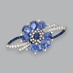 Platinum, Sapphire and Diamond Brooch, Oscar Heyman & Brothers, J.E. Caldwell & Co., 1948.