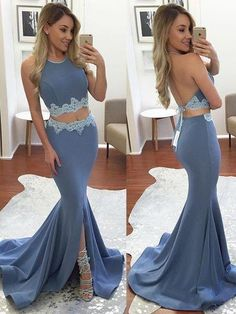 Elegant Halter Sweep Train Split Front Backless Prom Dress with Lace,Two Pieces Prom Dress