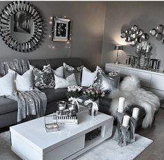 Modern living room Clean decor White gray & silver