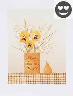 Done in a folk art style, a jar labeled for #ginger beer holds pansies and wild plants, sitting on a tablecloth alongside a pear. The artist, Mary Faulconer, is ...