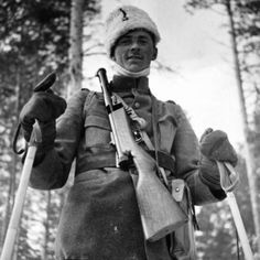 Swedish soldier in winter cap and skies armed with a Husqvarna m37/39 sub machine gun. Location Swed - pin by Paolo Marzioli