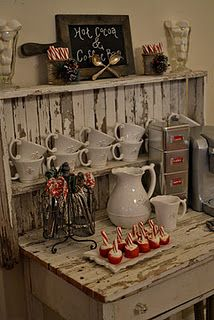 Hot cocoa and coffee bar.  Love it ! How cute is the cutting board turned chalkboard ? :) (from Delightful Deets)
