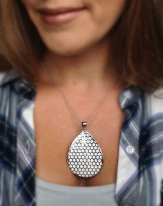 Fitbit One pendant / necklace Teardrop Honeycomb by techGLAM
