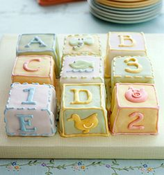 Different Spin on a baby shower cake, individual block cakes, made to look like baby blocks. each guest gets their own piece, i truly love this idea :). Baby Cakes, Baby Shower Cakes, Fiesta Baby Shower, Baby Shower Desserts, Cupcake Cakes, Mini Cakes, Fondant Cakes, Shower Party, Baby Shower Parties