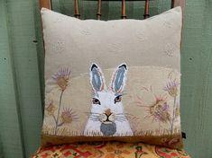 Folk Art Scottish Mountain Hare Cushion.