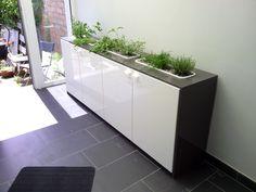 Using an IKEA shelf to make a stylish entrance garden