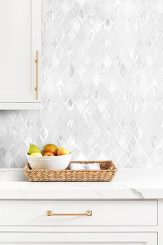 White Backsplash Tile Glass And Marble With Marble Countertop
