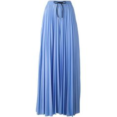 MSGM pleated contrast stripe palazzo pants ($684) ❤ liked on Polyvore featuring pants, blue, pleated trousers, striped trousers, print pants, striped pants and pleated palazzo trousers