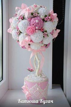 ra boda, bautizo y baby shower Flower Crafts, Diy Flowers, Fabric Flowers, Paper Flowers, Diy And Crafts, Paper Crafts, Deco Floral, Baby Shower, Topiary