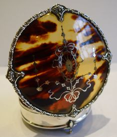 Stunning Antique English Sterling Silver & Tortoise Shell Jewelry Box - 1910