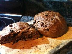 Similar to Zingermans yummy loaf...a not-too-sweet bread studded with bits of bittersweet chocolate and dried cherries. Add some toasted pecan pieces for some extra crunch, or leave them out; your choice. Prep time does not include 2 to 3 hours of rising time.