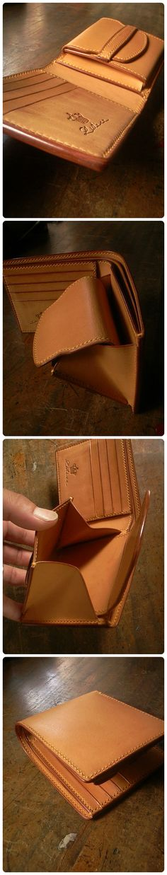 leather hand made hand wallet