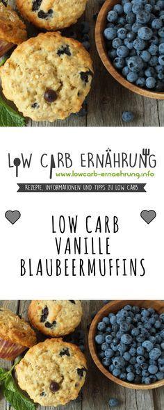 Low Carb Rezept für leckere Vanille-Blaubeermuffins mit wenig Kohlenhydraten und ohne Zucker. Low Carb, zuckerfrei und einfach und schnell zum Nachbacken. Perfekt zum Abnehmen.