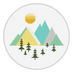 Mountains Geometric Cross Stitch Pattern Geometric Forest Scandinavian Mid Century Woodland cross stitch Modern cross stitch X178 par Xrestyk sur Etsy https://www.etsy.com/fr/listing/503728341/mountains-geometric-cross-stitch-pattern