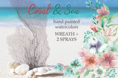 'Coral and Sea': wreath and bouquets by Lolly's Lane Shoppe on @creativemarket