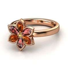 Round Citrine 14K Rose Gold Ring with Fire Opal & Red Garnet - Enchanting Flower Ring | Gemvara
