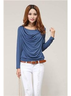 Attractive Slim Drape Long Sleeves Large Size T-shirt