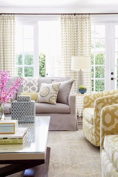 Contrasting Color Lavender and Gold mix great soft color palette in this Living Room