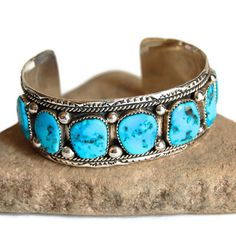 Navajo Sleeping Beauty Turquoise Cuff Vintage Jewelry Boho Tribal Southwestern Sterling Silver Bracelet Accessories Handmade Marie Thompson