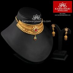 bridal sets & bridesmaid jewelry sets – a complete bridal look Antique Jewellery Designs, Gold Earrings Designs, Necklace Designs, Gold Jewellery, Bridal Jewellery, Gold Bangles, Jewelery, Jewelry Design, Gold Chocker Necklace
