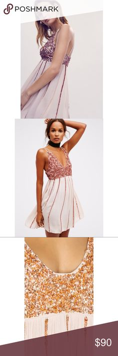 FREE PEOPLE Glitter Girl Slip Crinkly slip with embroidered sequin accents in a flirty silhouette. V-neckline and strappy back. Semi sheer.  100% Rayon Hand Wash Cold Import Free People Dresses