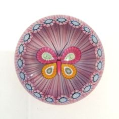 1988A LE Perthshire Millefiori Butterfly In Stave Basket Art Glass Paperweight