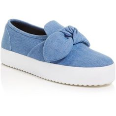 Out of the blue: Rebecca Minkoff shapes sweet platform sneakers in true-blue denim for on-trend, off-duty appeal.