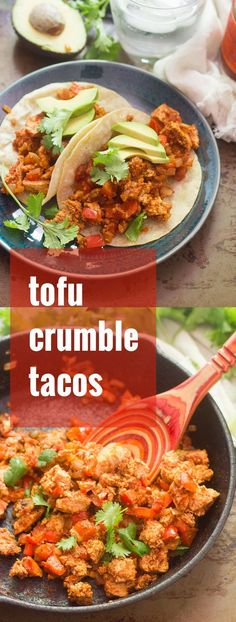 Tofu makes the best vegan taco meat! The trick: freeze your tofu for the perfect crumbly texture. Then sizzle it up in a skillet with Tex-Mex spices and stuff it into warm tortillas to make these amazing tofu tacos! Vegan Mexican Recipes, Tofu Recipes, Vegan Dinner Recipes, Delicious Vegan Recipes, Vegan Dinners, Whole Food Recipes, Vegetarian Recipes, Cooking Recipes, Healthy Recipes