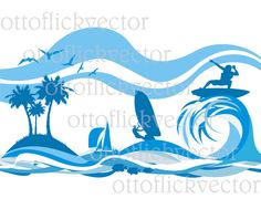 VACATION AN A TROPICAL vector clipart, water sports silhouettes, vector baner, background eps, ai, cdr, png, jpg, create your banner etc. by ottoflickvector on Etsy