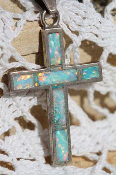 Vintage Teme Sunburst Handcrafts Sterling Silver Boulder Opal Cross Pendant   eBay