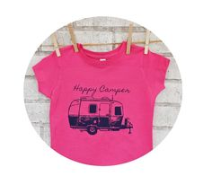 Happy Camper  Youth Girls Hot Pink Tshirt With Purple Image, Camping Trip, Cotton Short Sleeved Graphic Tee, Fitted Young Ladies Shirt by CausticThreads on Etsy