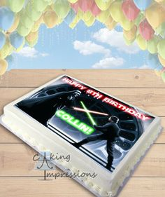 Star Wars Luke Skywalker vs. Darth Vader Edible Image Cake Topper [SHEET]