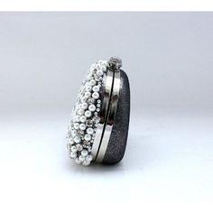 Elegant Sparkle Satin Rhinestone Beaded Pearl Purse Wallet Bag, Wedding Party Clutch Handbag-Black