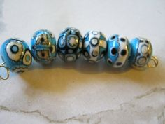 Handmade Lampwork Beads turquoise black white by janissupplies