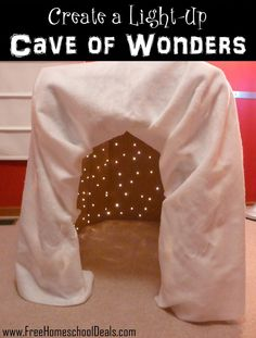 Project: Create a Light-Up Cave of Wonders Create a light up cave of wonders. For the next big box I find!Create a light up cave of wonders. For the next big box I find! Diy For Kids, Cool Kids, Crafts For Kids, Toddler Activities, Activities For Kids, Toddler Toys, Reggio Emilia, Ideias Diy, Dramatic Play