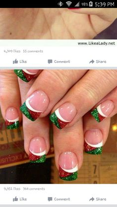 30 Fabulous Christmas Nail Art Designs For Girls to Try : Celebrate Christmas all month along with these nail art ideas. Celebrate Christmas all month along with these nail art ideas. Xmas Nail Art, Christmas Gel Nails, Holiday Nail Art, Christmas Makeup, Nail Art For Christmas, Christmas Decor, Fancy Nails, Cute Nails, Pretty Nails