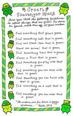 Green scavenger hunt - something fun to do with the kiddos for st. st patricks day images Green Scavenger Hunt - Happy Home Fairy St Patricks Day Crafts For Kids, St Patrick's Day Crafts, Kids Crafts, March Crafts, Toddler Crafts, Treasure Hunt For Kids, Scavenger Hunt For Kids, Scavenger Hunts, Saint Patrick's Day