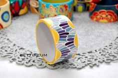 Hand Painted Bangle Bracelet by Bettineum on Etsy, $25.00