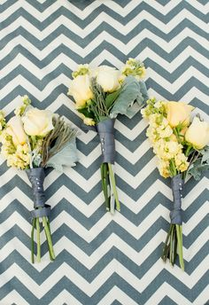 RaeTay Photography » Chevron print table runners, yellow and gray wedding, wedding flowers