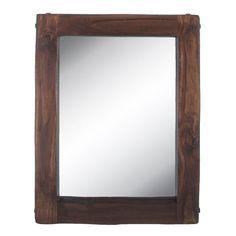 Large Brown Wood Wall Mirror Rustic Country Farmhouse Bedroom Bathroom Vanity #TheNeedfulThings #Rustic