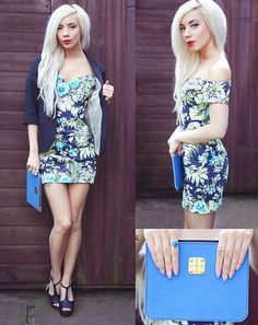 Missguided Lotye Floral Bardot Bodycon Dress, Topshop Black Blazer, The Bohemian Collective Sterling Silver Oval Turquoise Ring, Baia Bags Zip Pouch, Nelly T Bar Heels