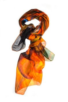 "Multicolor, fruit motif rectangular scarf with orange-stitched border. This very soft and lightweight piece is perfect as a spring scarf or summer shawl.    Measures 36""W x 76""L.   Multicolor Scarf by Kaskól. Accessories - Scarves & Wraps Dallas, Texas"