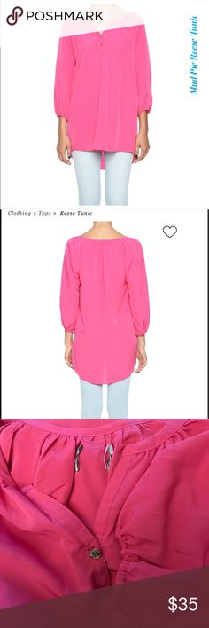 "New 🌸 Mud Pie Reese Pink Tunic top 🌸 Poly crep tunic has three gold buttons at placket. Elastic sleeve cuff allows for adjustable length. Approx. Measures: 31.50"" long from shoulder to bottom hem. 📌Please Note📌Tag from back has been removed📌 Its NWOT 📌No Flaws📌  Brand: Mud Pie Fiber Content: 100% polyester (View Fabric Guide)  SIZE & FIT Fit is true to size. Model is wearing size S. Model's height 5'10"", bust 32"", waist 25"", hips 35"". Mud Pie Tops Tunics"