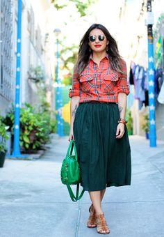 saia midi + blusa xadrez - Small Fashion Diary